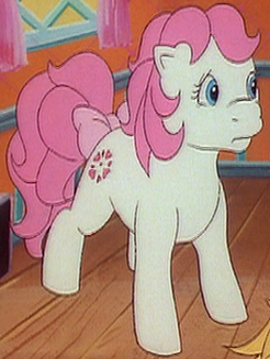 Cast list for the g1 my little pony cartoons 100114 earth pony white body pink hair symbol four pink hearts in a circle appears in my little pony the movie the end of flutter valley animation mightylinksfo